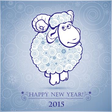2015 year of the sheep vectors background