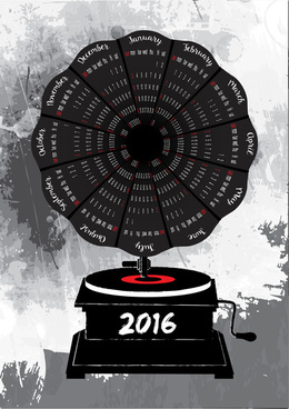 2016 calendar vintage music player