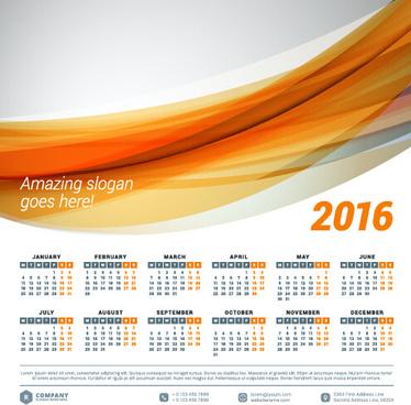 2016 company calendar creative design vector