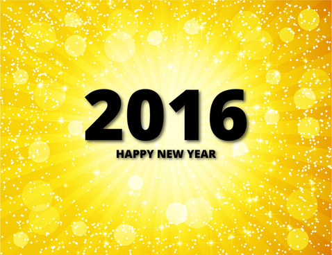 2016 happy new year golden background