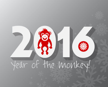 2016 year of the monkey vector