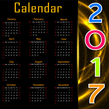2017 calendar design on black background