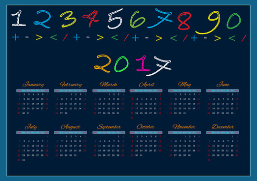 2017 calendar design with colorful chalk letters