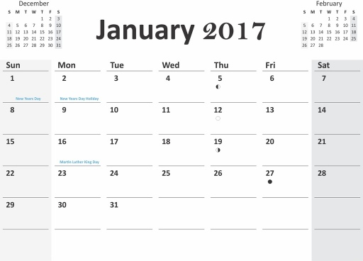 2017 calendar with previous and next months in cdr pdf format