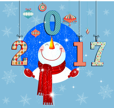 2017 new year background with funny snowman illustration