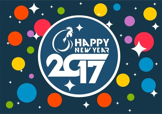2017 new year banner colorful circles background design