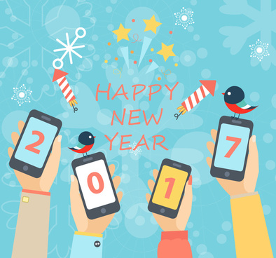 2017 new year banner with phone screens illustration