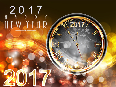 2017 new year card design with classical clock