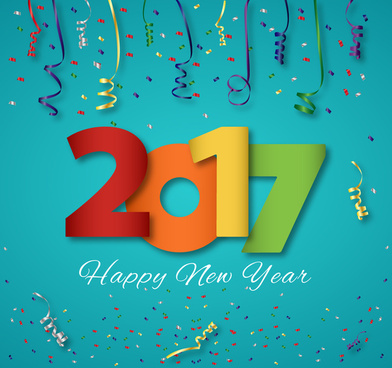 2017 new year template design with colorful numbers