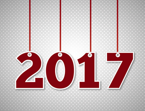 2017 new year template design with hanging numbers
