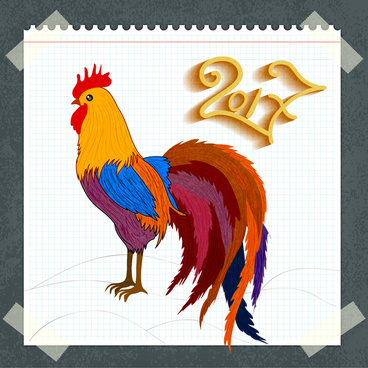 2017 oriental card template design with drawn cock
