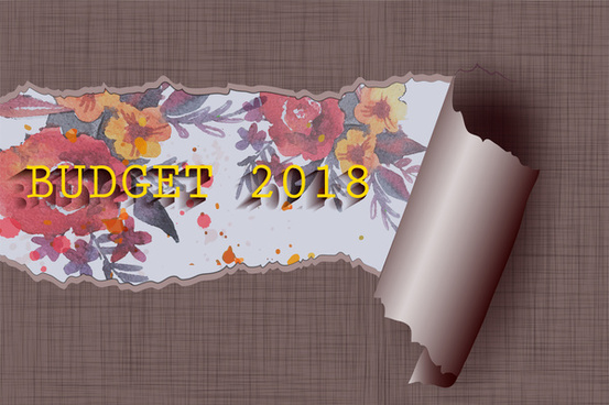 2018 budget banner design with tearing painting