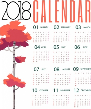 2018 calendar background autumn tree design