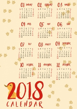 2018 calendar background duck footprints icons design