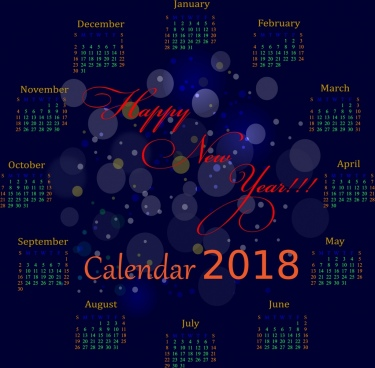 2018 calendar background violet bokeh design circle decoration / 162