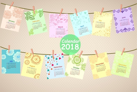 2018 calendar design wallpaper hanging paper icons decoration