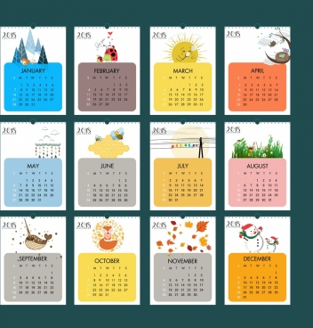 2018 calendar design elements natural wildlife icons