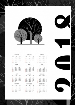 2018 calendar template black and white design tree icons
