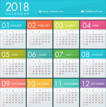 2018 calendar template bright colorful modern design