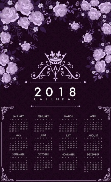 2018 calendar template dark violet decor roses icons