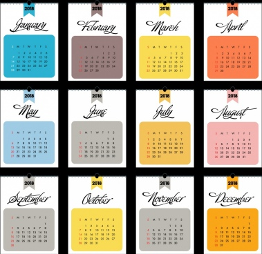2018 calendar template flat rectangular section isolation