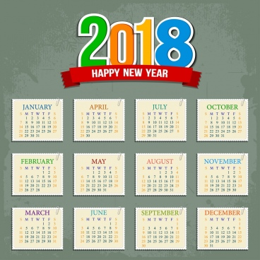 2018 calendar template flat squares sectors decoration