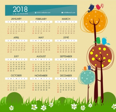 2018 calendar template hand-drawn cartoon style