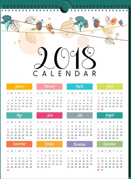 2018 calendar template natural bird leaves decor