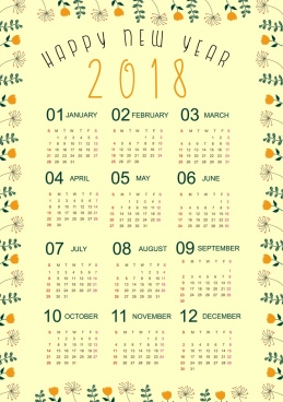 2018 calendar template natural flowers border decor