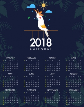 2018 calendar template parrot icon plants vig nette decoration