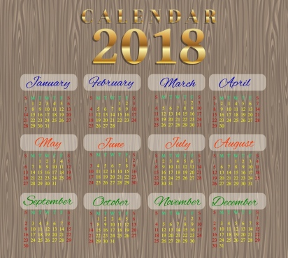 2018 calendar template wooden background design