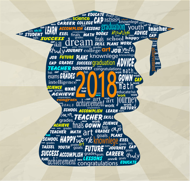 2018 graduation banner with texts arrangement and silhouette