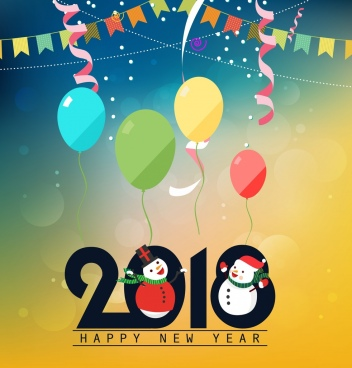 2018 new year backdrop snowmen balloon ribbon decoration