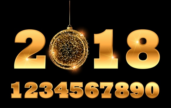 2018 new year background glittering golden numbers decor