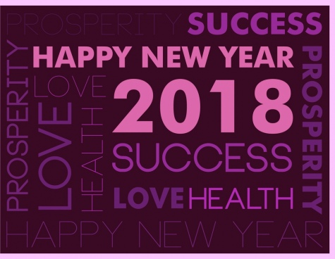 2018 new year background violet greeting text decoration