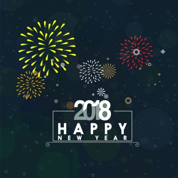 2018 new yea r banner colorful fireworks background