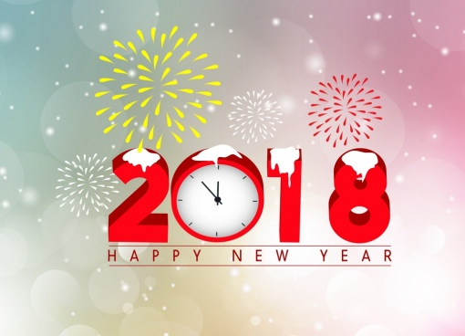 2018 new year banner fireworks numbers bokeh background