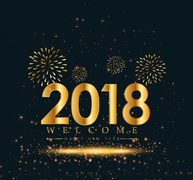 2018 new year banner glittering number fireworks decor