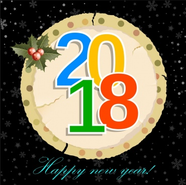 2018 new year banner ragged round paper ornament