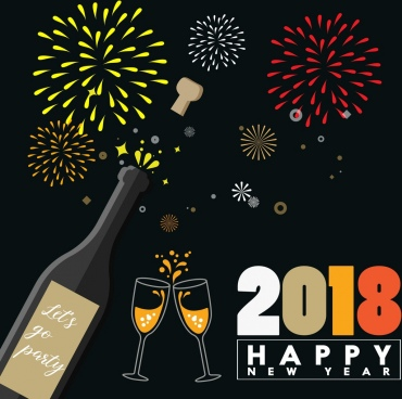 2018 new year banner wine fireworks icons decoration