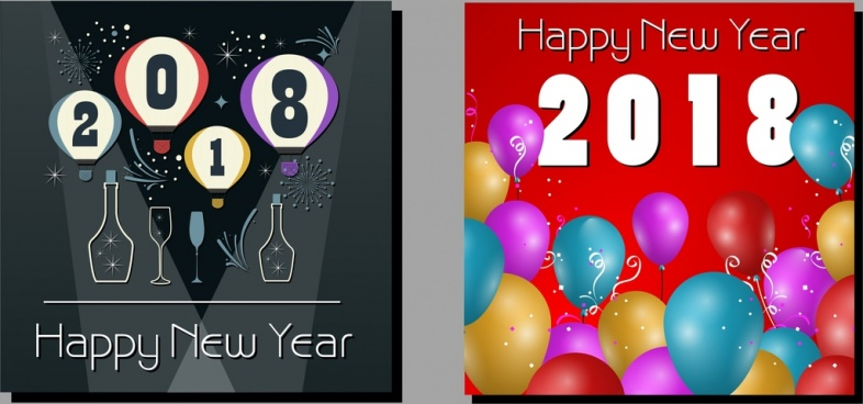 2018 new year banners wineglass balloons numbers decor