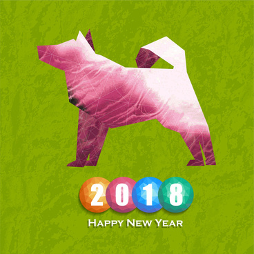 2018 new year card vector with dog illustration