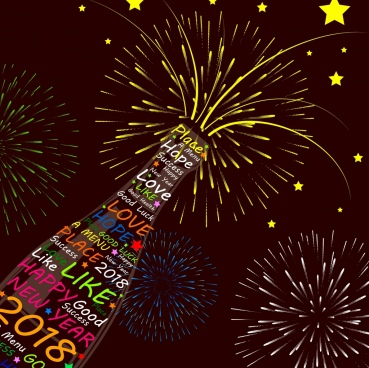 2018 new year poster wine bottle fireworks decoration
