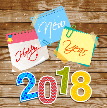 2018 new year template with colorful note papers