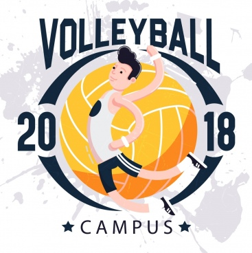 2018 volleyball campus banner athelte ball icons decor