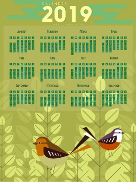 2019 calendar backdrop birds trees icons decor