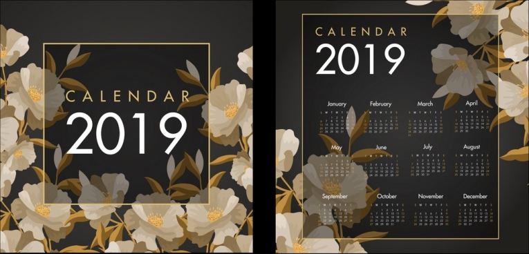 2019 calendar backdrop transparent decor flowers icons