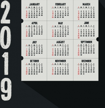 2019 calendar background dark retro grunge design