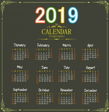 2019 calendar background elegant black decor colorful number