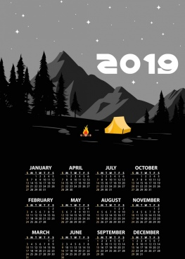2019 calendar background mountain camp theme dark design